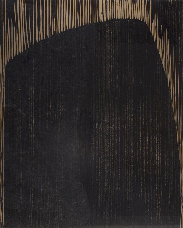 <strong>Anna-Eva Bergman</strong><br /> <em>Sort klippe / Rocher noir</em><br /> GB 45-1974<br /> Tresnitt, H.C. 497 x 399 mm<br /> Signert n.t.h.: AE Bergman&nbsp;