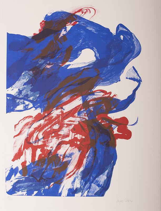 <strong>Inger Sitter</strong><br /> <em>Komposisjon</em><br /> Litografi, 12/100, 64 x 45 cm<br /> Signert n.t.h.: Inger Sitter