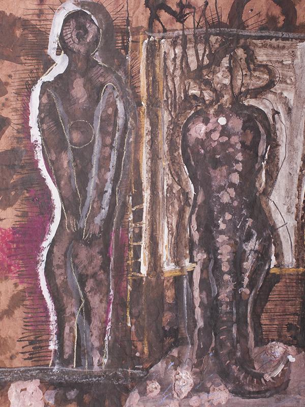 <strong>RYSZARD WARSINSKI</strong><br /> <em>Samtalen</em>, ca. 1965-70<br /> Blandingsteknikk p&aring; papir, 67 x 55 cm<br /> Signert n.t.h.: Warsinski
