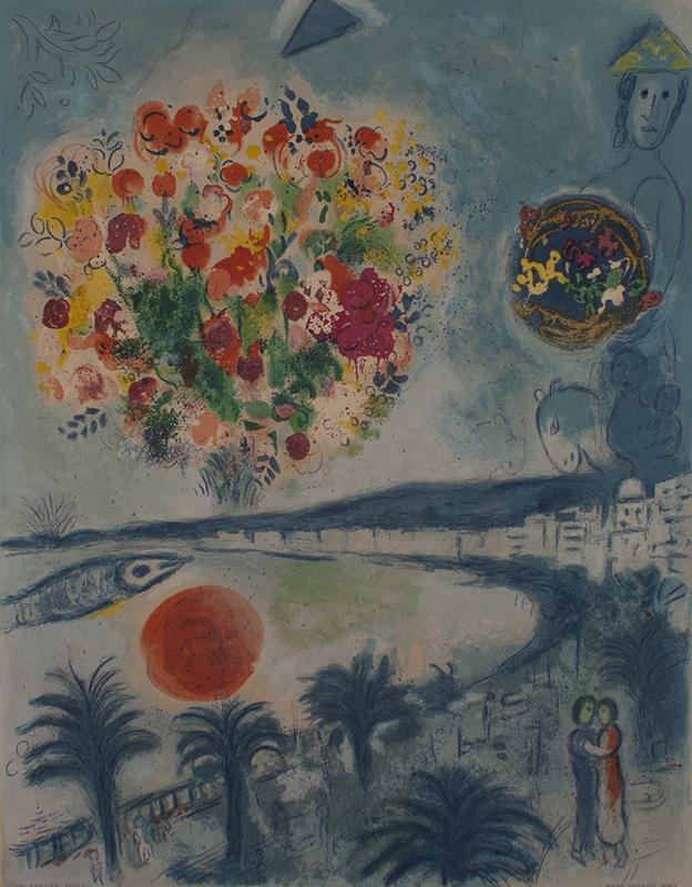 <strong>Marc Chagall</strong><br /> <em>Solnedgang</em>, fra <em>Cote d&#39;Azur-serien</em>, 1967<br /> Litografi, 76/150, 60 x 46 cm<br /> Signert n.t.h.: Marc Chagall<br /> CS 26