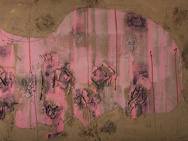 <strong>RYSZARD WARSINSKI</strong><br /> <em>Uten tittel</em>, ca. 1990 (utsnitt)<br /> Blandingsteknikk p&aring; lerret, 126 x 200 cm<br /> Signert n.t.h.: Warsinski