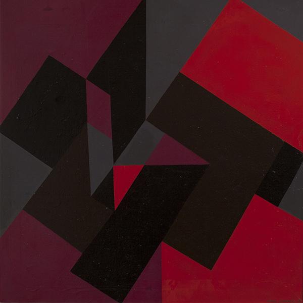 <strong>GUNNAR S. GUNDERSEN</strong><br /> <em>Komposisjon</em>, 1961<br /> Olje p&aring; lerret, 101 x 101 cm<br /> Signert n.t.h.:<br /> Gunnar S. 1961
