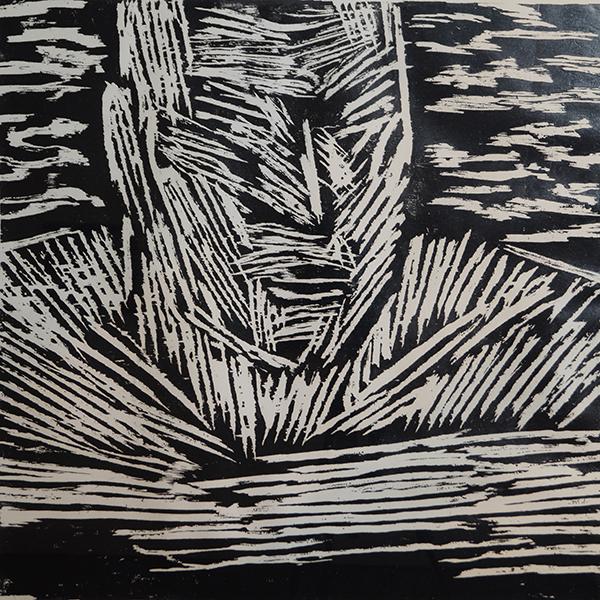 <strong>KALLE NILSEN</strong><br /> <em>Sv&oslash;mmer</em><br /> Tresnitt, 75 x 75 cm<br /> Signert n.t.h.: Karl E.N.