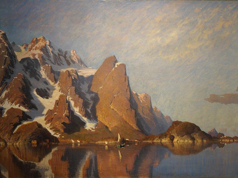 <strong>JOHANNES von DITTEN</strong><br /> <em>Fra Henningsv&aelig;r</em><br /> Olje p&aring; lerret, 90 x 132 cm<br /> Signert n.t.h.: v Ditten