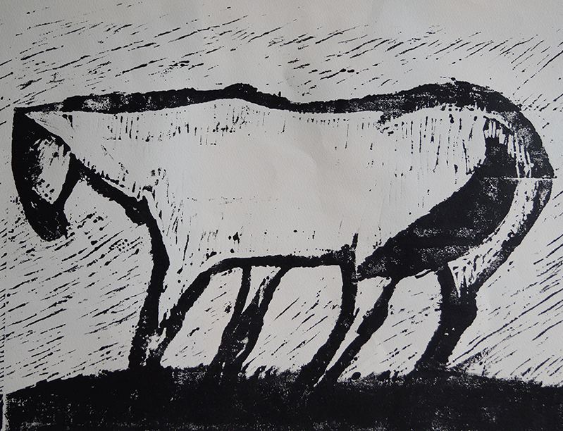 <strong>LUDVIG EIKAAS</strong><br /> <em>Hest i vind</em>, 1953<br /> Tresnitt, E.T. 460 x 670 mm<br /> Signert n.t.h.: Ludvig Eikaas