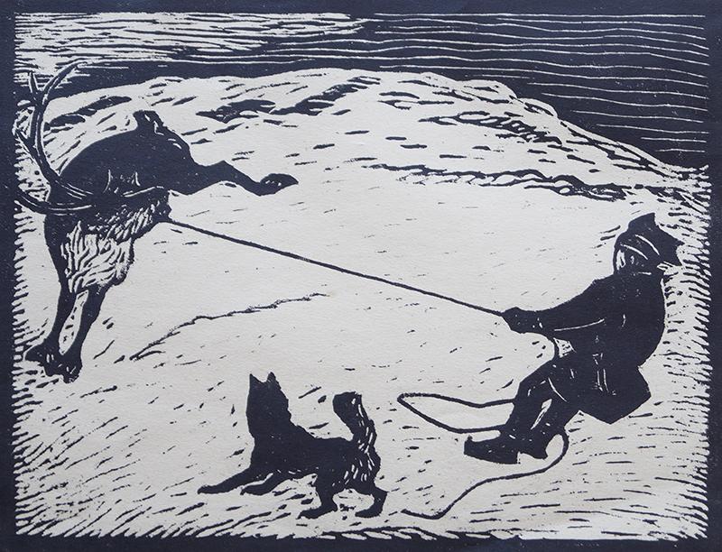 <strong>JOHN SAVIO</strong><br /> <em>Lasso (Suopan)</em><br /> Tresnitt, 79/100, 198 x 256 mm<br /> Signert n.t.h.: John Savio<br /> Berntsen 69