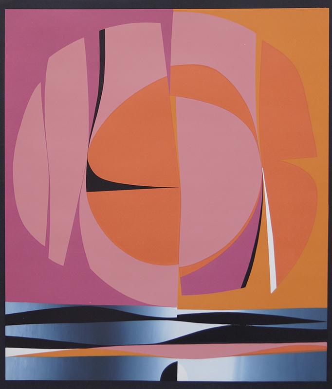 <strong>GUNNAR S. GUNDERSEN</strong><br /> <em>Komposisjon</em>, 1969<br /> Serigrafi, 182/250, 524 x 460 mm<br /> Signert n.t.v.: Gunnar S. -69