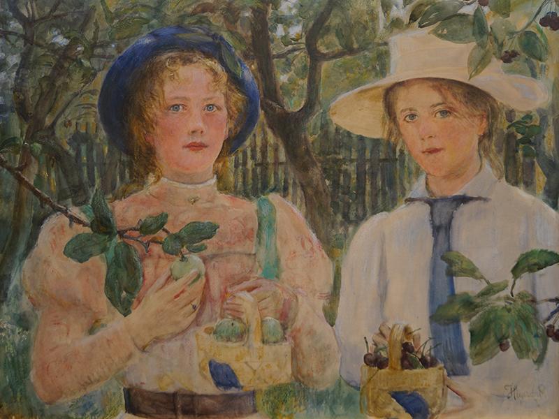<strong>HANS HEYERDAHL</strong><br /> <em>Pikene i frukthaven</em>, ca. 1907<br /> Akvarell, pastell og gouache p&aring; papir<br /> klebet p&aring; lerret, 68 x 86 cm<br /> Signert n.t.h.: Heyerdahl