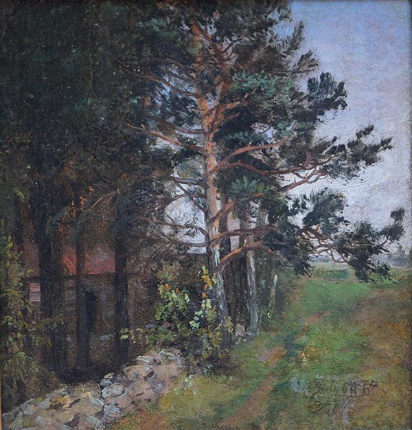 <strong>JOHAN CHRISTIAN DAHL</strong><br /> <em>Parti fra Jomfrubr&aring;then ved Christiania</em>, 1844<br /> Olje p&aring; papir klebet p&aring; plate, 20 x 19 cm<br /> Signert n.t.h.: d. 8. Juli 1844 JDahl