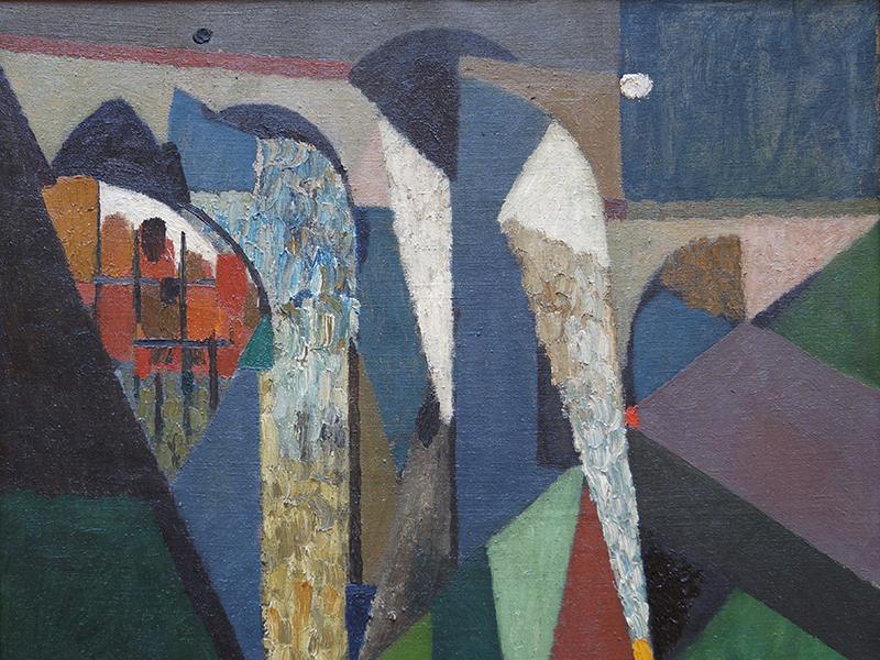 <strong>THORE HERAMB</strong><br /> <em>Motiv fra Alpes Maritimes</em>, Frankrike 1952 (utsnitt)<br /> Olje p&aring; lerret, 65 x 77 cm<br /> Signert n.t.h.: Th. Heramb 52