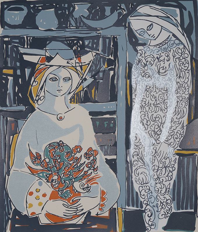 <strong>KAI FJELL</strong><br /> <em>Mor og datter</em>, 1967<br /> Serigrafi, 19/250, 47 x 40 cm<br /> Signert n.t.h.: Kai Fjell