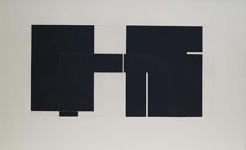 <strong>SIDSEL WESTB&Oslash;</strong><br /> <em>Dialog med Mondrian 5</em>, 1999<br /> Kodln&aring;l og h&oslash;ytrykk, E.T. 35 x 70 cm<br /> Signert n.t.h.: Sidsel Westb&oslash; 1999<br /> Opplag: 12