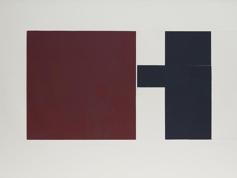 <strong>SIDSEL WESTB&Oslash;</strong><br /> <em>Dialog med Mondrian 8</em>, 1999<br /> Koldn&aring;l og h&oslash;ytrykk, E.T.,&nbsp;35 x 70 cm (59 x 94 cm)<br /> Signert n.t.h.: Sidsel Westb&oslash; 1999<br /> Opplag: 12