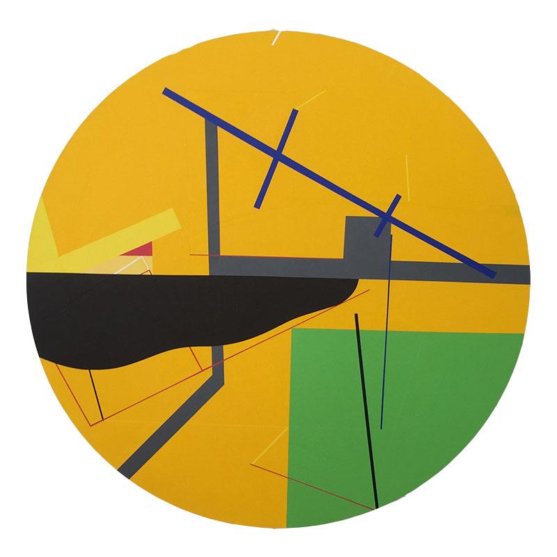 <strong>SUSANNE KATHLEN MADER</strong><br /> <em>Pireus</em>, 2011<br /> Akryl p&aring; fin&eacute;r, diameter 93 cm<br /> Signert bak: