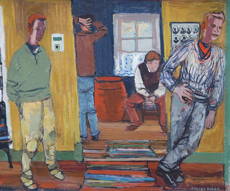 <strong>ERLING ENGER</strong><br /> <em>Fire voksne karer alene hjemme</em>, 1942<br /> Olje p&aring; lerret, 80 x 100 cm<br /> Signert n.t.h.: Erling Enger -42