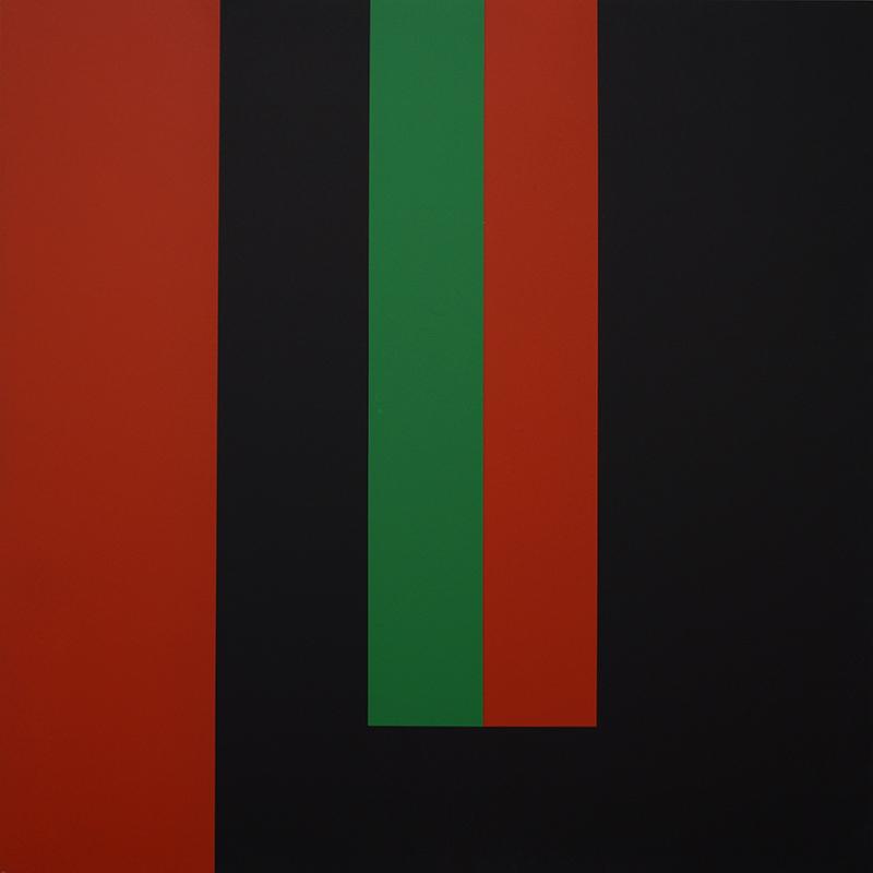 <strong>HERMAN HEBLER</strong><br /> <em>Uten tittel</em><br /> Akryl p&aring; plate, 100 x 100 cm