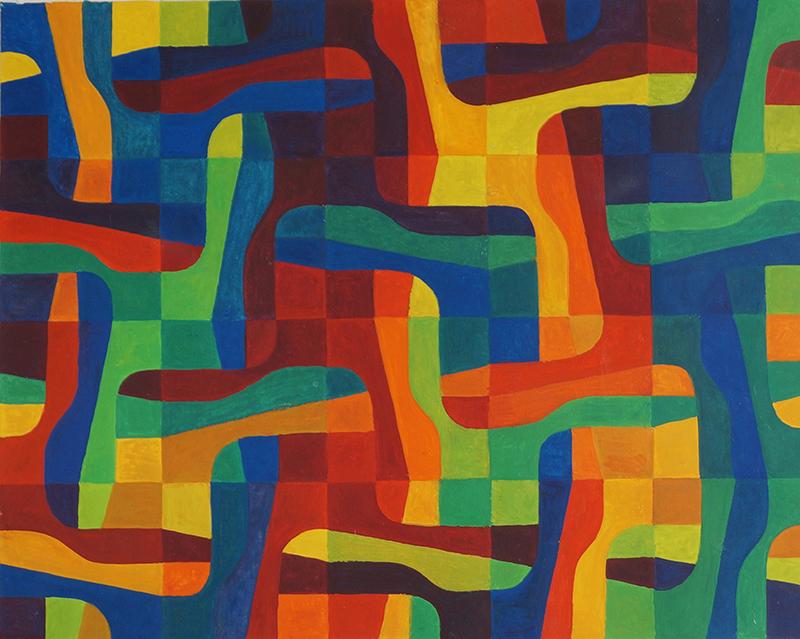 <strong>MAGNE HEGDAL</strong><br /> <em>Aleatorisk komposisjon (20 kvadrater) I</em>, 1971<br /> Gouache p&aring; papir, 20 x 25 cm<br /> Signert bak: Magne Hegdal