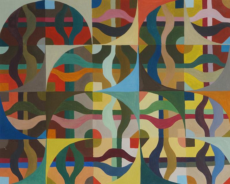 <strong>MAGNE HEGDAL</strong><br /> <em>Aleatorisk komposisjon (20 kvadrater) III</em>, 1971<br /> Gouache p&aring; papir, 20 x 25 cm<br /> Signert bak: Magne HEgdae