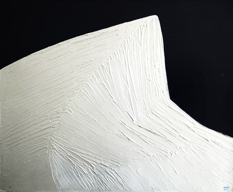 <strong>ANNA-EVA BERGMAN</strong><br /> <em>No. 39-1971 Montagne</em><br /> Akryl og metallfolie p&aring; plate, 60 x 73 cm<br /> Signert n.t.h.: AEB 1971<br /> P.E.