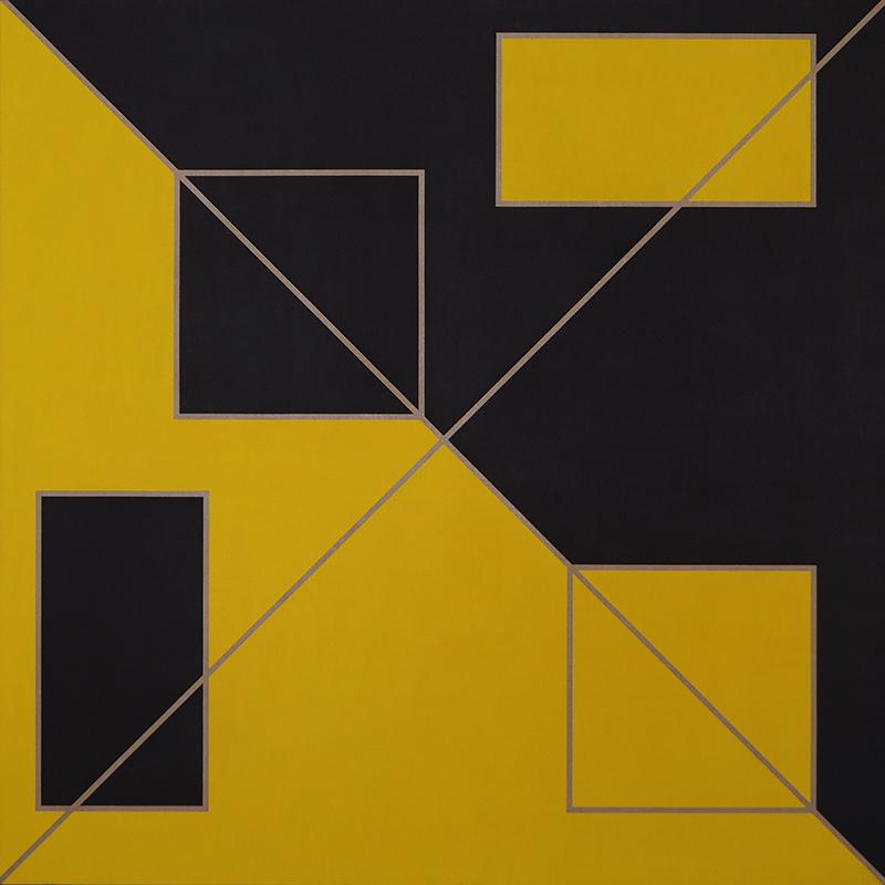 <strong>BJ&Oslash;RN RANSVE</strong><br /> <em>Diagonaler med gult og svart</em>, 1992<br /> Olje p&aring; lerret, 188 x 188 cm<br /> RM 471 / P1992-008