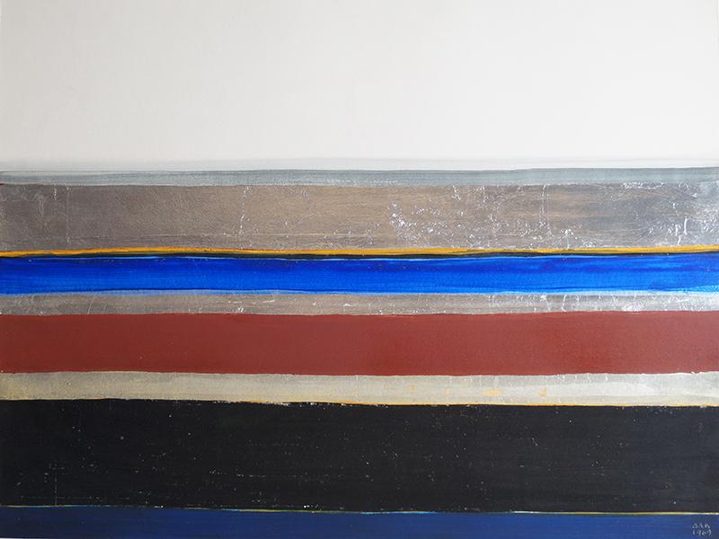<strong>ANNA-EVA BERGMAN</strong><br /> <em>Horizon</em>, 1969<br /> Olje og metallfolie p&aring; papir, 49 x 64 cm<br /> Signert n.t.h.: AEB 1969