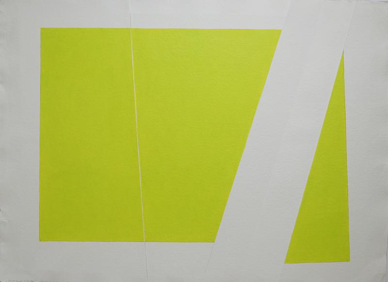 <strong>WENCHE GULBRANSEN</strong><br /> <em>Part and Whole - Plastb&oslash;ttegul</em>, 2017<br /> Akryl p&aring; h&aring;ndlaget papir, 80 x 113 cm<br /> Signert n.t.h.: Wenche Gulbransen 2017