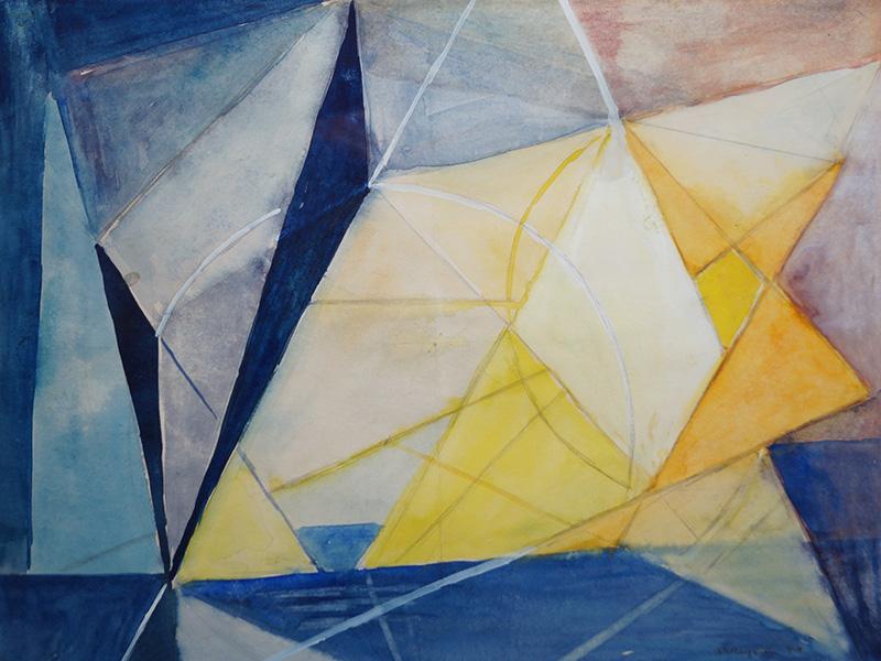 <strong>ANNA-EVA BERGMAN</strong><br /> <em>Komposisjon</em>, 1949<br /> Akvarell, 24 x 36 cm<br /> Signert n.t.h.: AEBergman 49